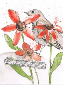 bird, nightingale, thrush,flowers