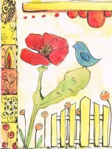 mixed media poppy bird