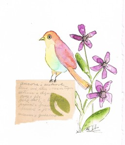 Makl Art Watercolor Bird and Swedish Note