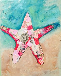 torn paper and paint pink starfish collage 8 x 10 on canvas
